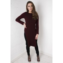 Knitted Jumper Dress with Side Splits in Maroon