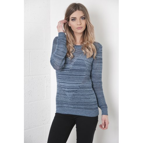 Knitted Jumper with Heart Detail in Blue