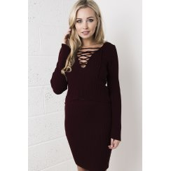 Knitted Lace-up Long-sleeved Crop Top in Maroon