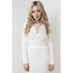 Knitted Lace-up Long-sleeved Crop Top in White