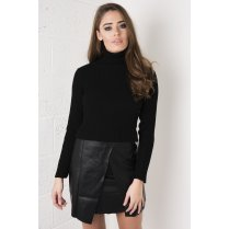 Knitted Ribbed Polo Neck in Black