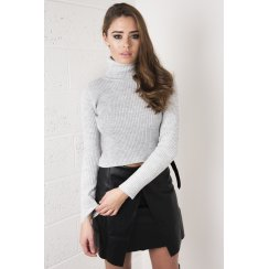 Knitted Ribbed Polo Neck in Grey