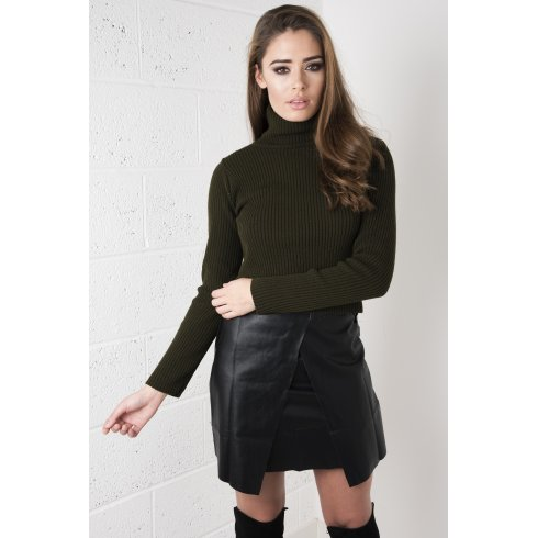 Knitted Ribbed Polo Neck in Khaki