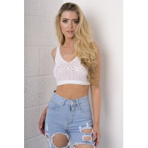 Knitted Sleeveless Crop in White
