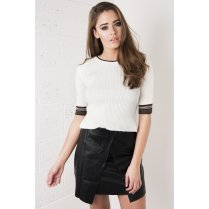Knitted Striped Ribbed Crop in Cream