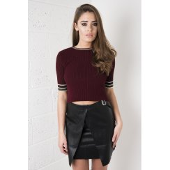 Knitted Striped Ribbed Crop in Maroon
