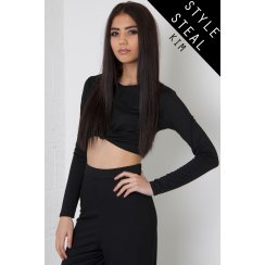 Knot Detail Long Sleeve Crop Top in Black