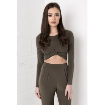 Knot Detail Long Sleeve Crop Top in Khaki