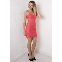 Lace Bodycon Mini Dress in Coral