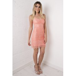 Lace Bodycon Mini Dress in Peach