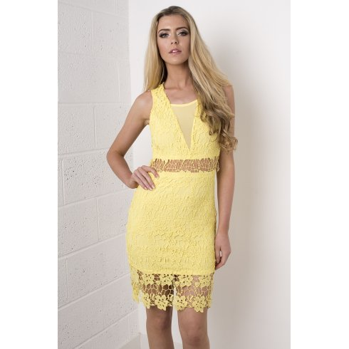 Lace Crochet Cut Out Dress in Yellow