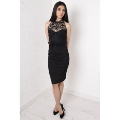 Lace Halter-Neck Bodycon Midi Dress in Black
