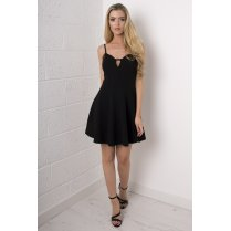 Lace Skater Dress in Black