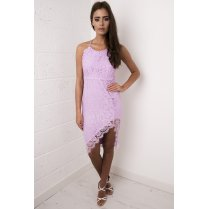 Lace Strappy Midi Dress in Lilac