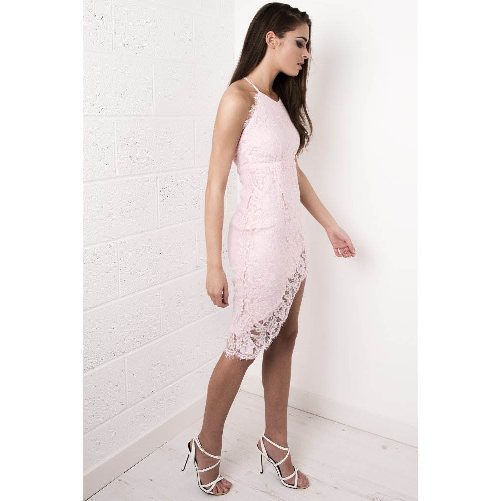 2b6b42dcf90b Lace Strappy Midi Dress in Pink