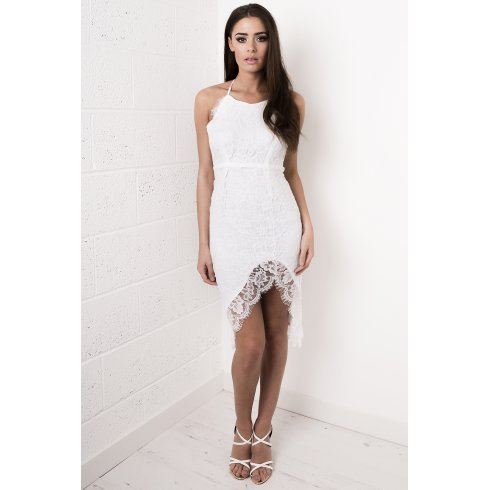 Lace Strappy Midi Dress in White