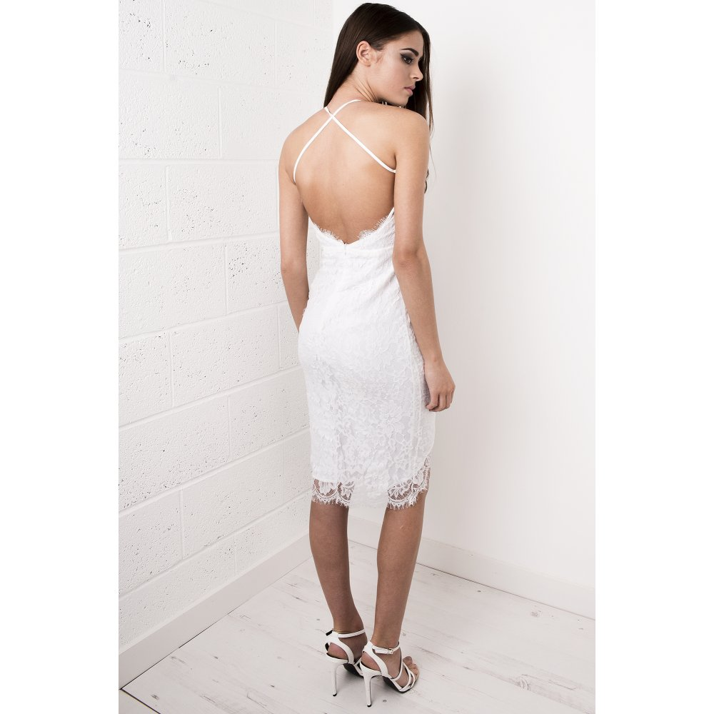 c95d08ea64dc Lace Strappy Midi Dress in White