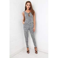 Lace Up Jumpsuit in Grey