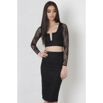 Lace V-Neck Co-Ord Set in Black