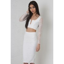 Lace V-Neck Co-Ord Set in White