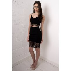 Laser Cut High Waisted Skirt in Black