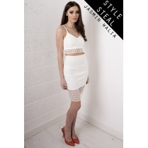 Laser Cut High Waisted Skirt in White
