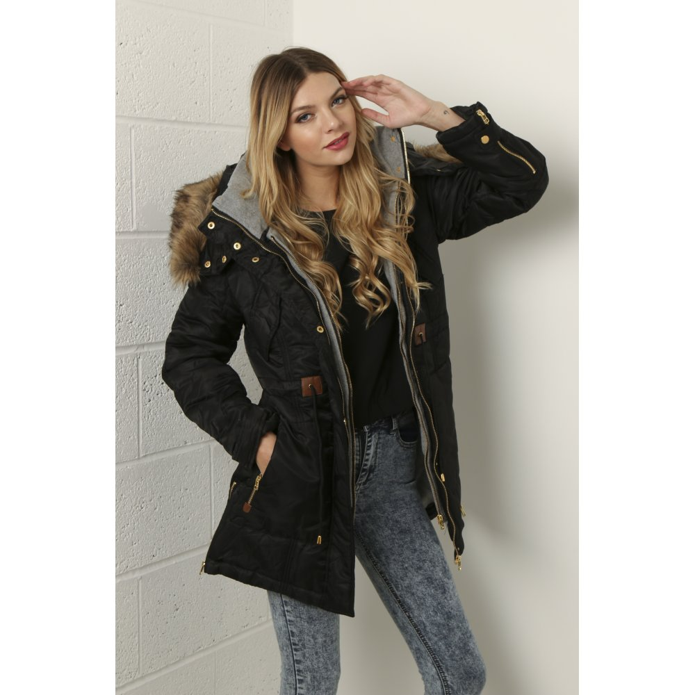 4a6e3a163e83 ... Layered Parka with Faux Fur Hood in Black ...