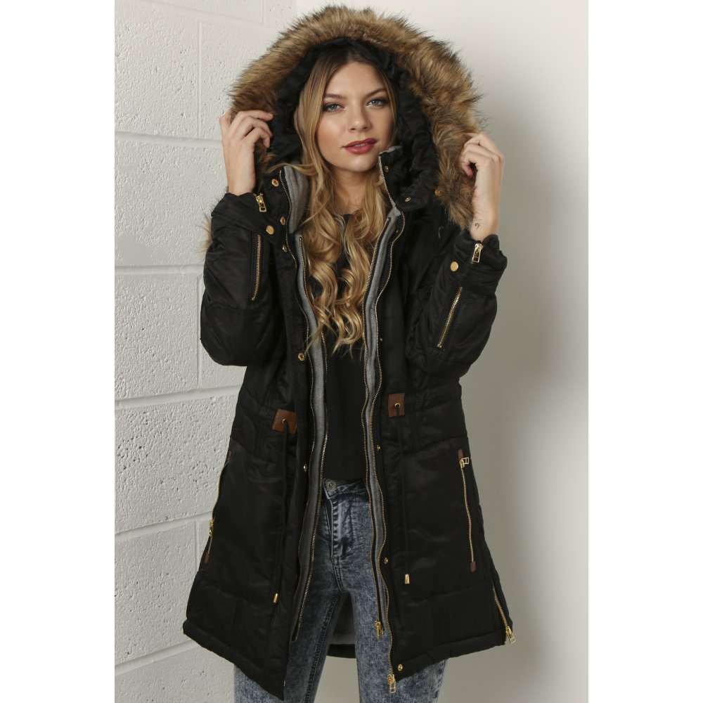Black Layered Parka with Faux Fur Hood | Coats & Jackets | Miss Foxy