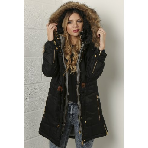 Black Hooded Parka Coat - JacketIn