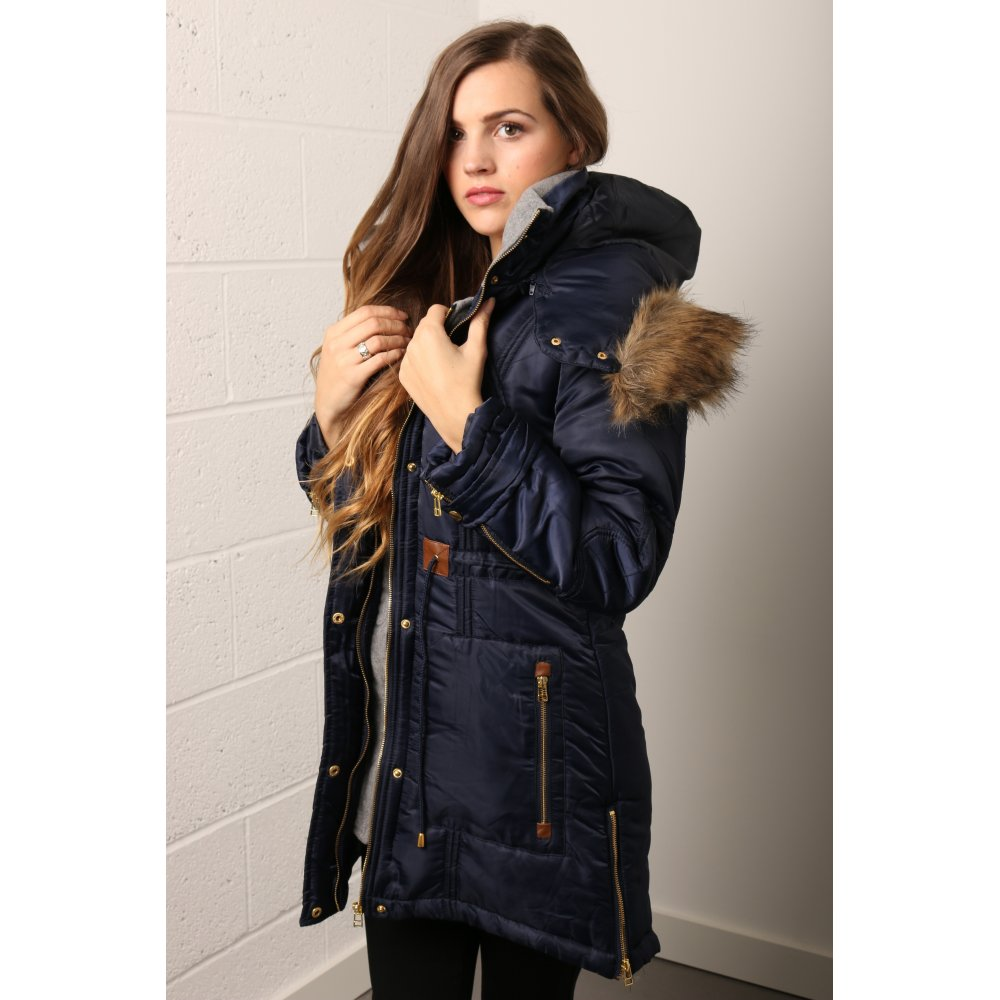 Layered Parka with Faux Fur Hood in Navy - from Miss Foxy UK