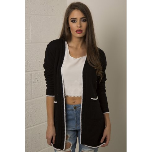Leave It Slogan Knitted Cardigan in Black