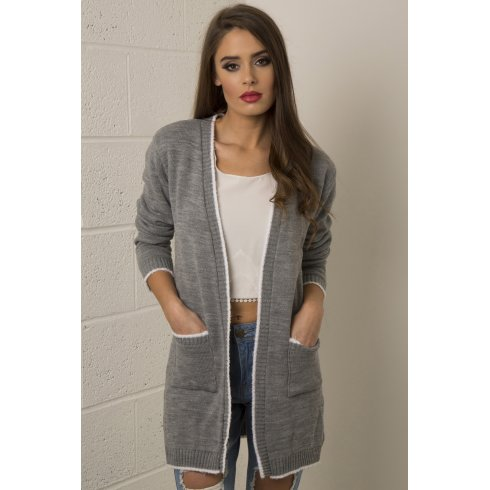 Leave It Slogan Knitted Cardigan in Grey