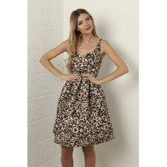 Leopard Print Pleated Skater Dress