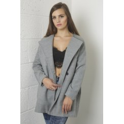 Long Cocoon Oversized Coat in Grey