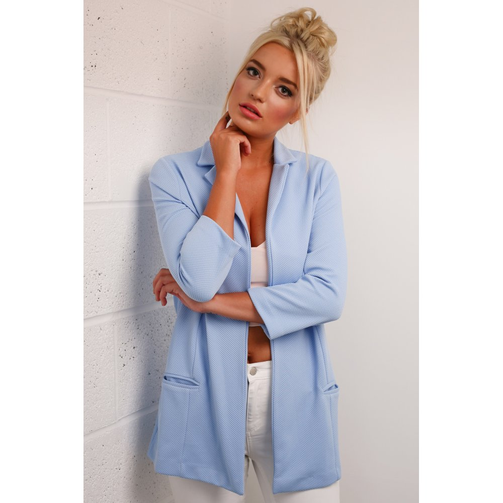 Line Cropped Sleeves Blazer in Light Blue