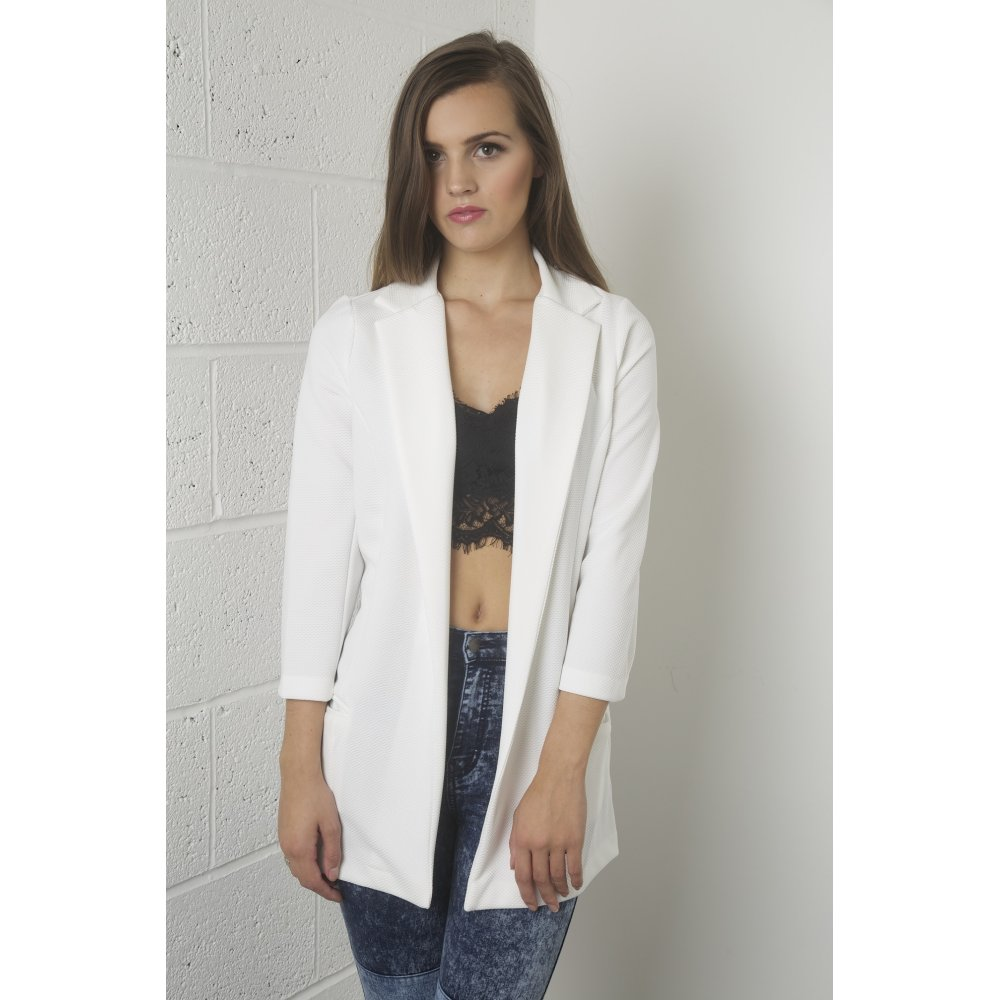 Http Www Missfoxy Co Uk Clothing C1 Coats Jackets C8 Long Line Cropped Sleeves Blazer In White P18