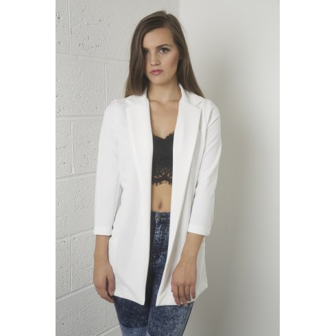Long Line Cropped Sleeves Blazer in White