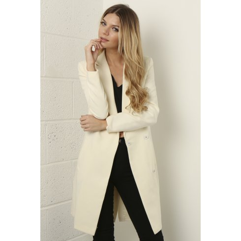 Long Line Duster Jacket in Cream