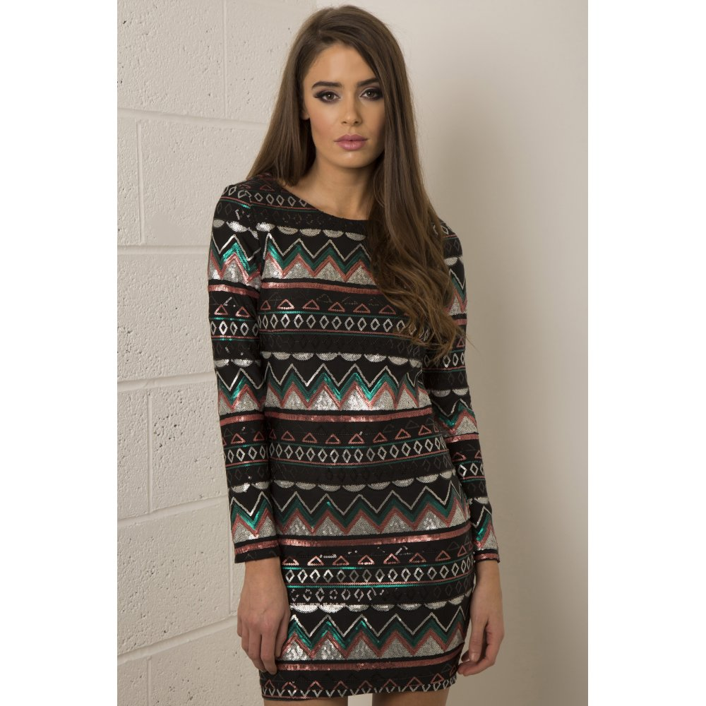 Aztec Print Sequin Dress