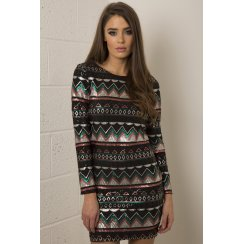 Long Sleeve Aztec Print Sequin Dress