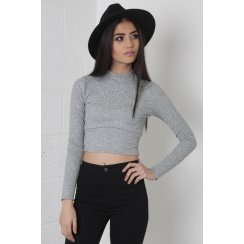 Long Sleeve Cropped Polo Neck Top in Grey