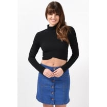 Long Sleeve High Neck Crop Top in Black