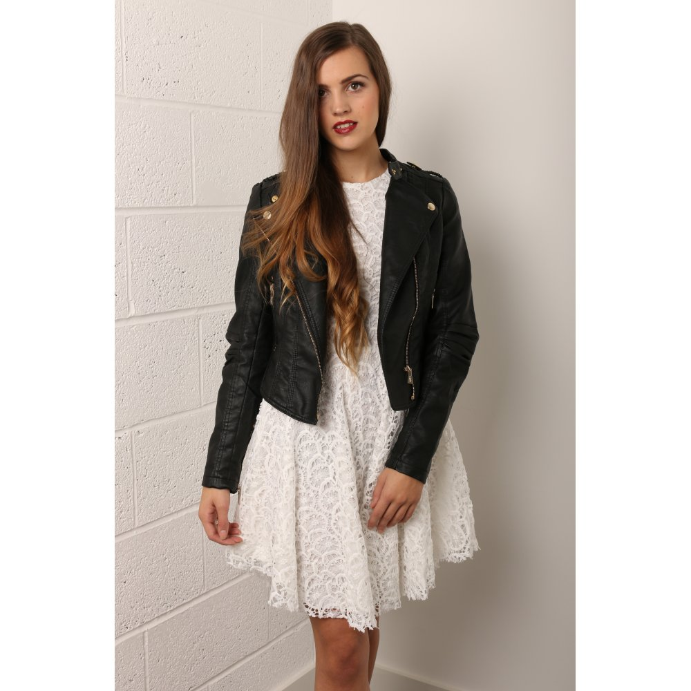 Leather and lace skater dress