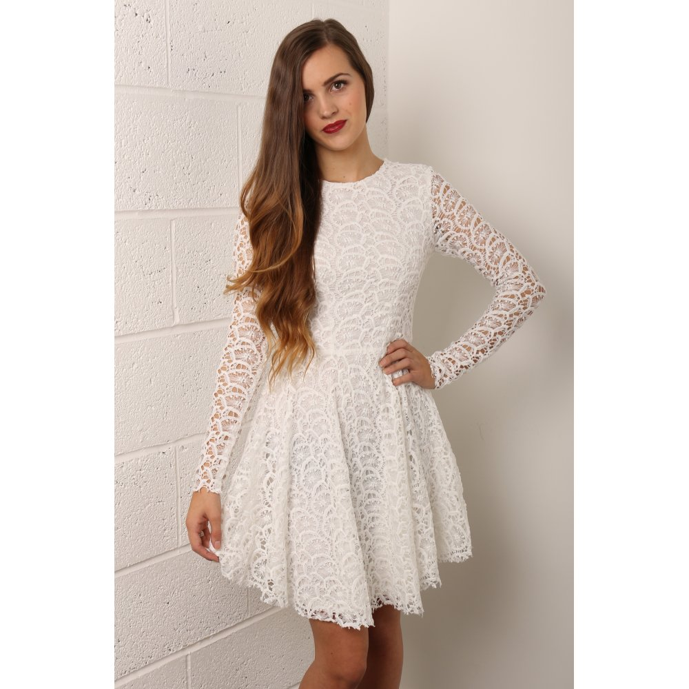 Sleeve Lace Skater Dress in White
