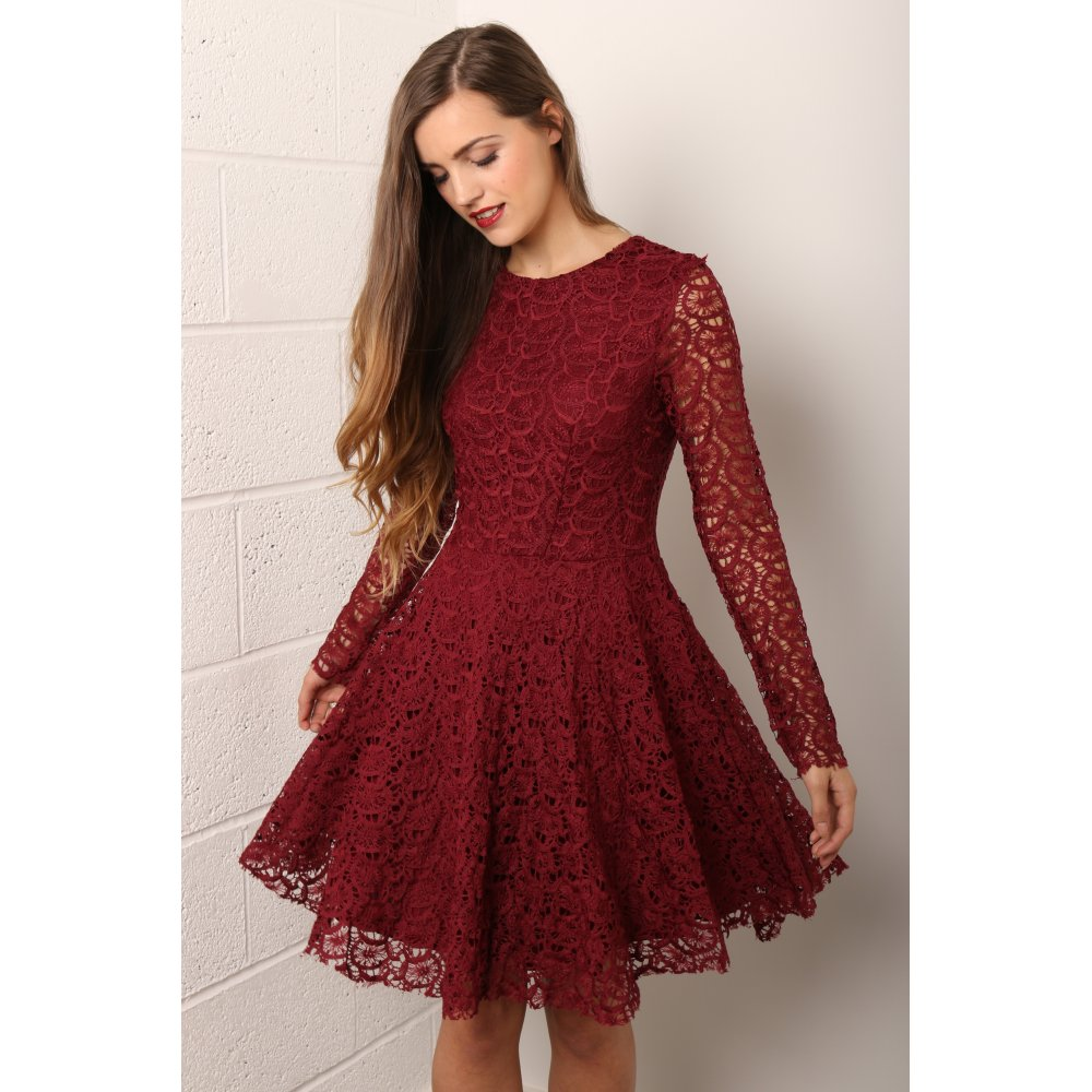 Long Sleeve Lace Skater Dress in Wine 519023301