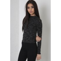 Long Sleeve Polo Neck Top in Black