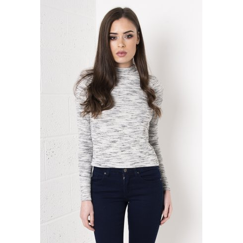 Long Sleeve Polo Neck Top in Light Grey