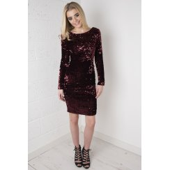 Long Sleeve Sequin Bodycon Dress in Wine