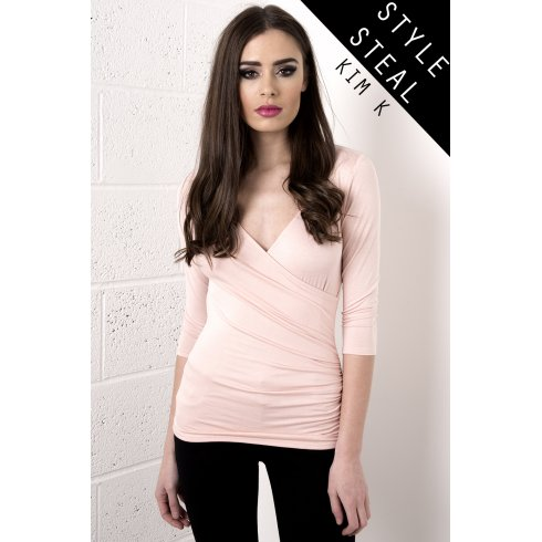 Low Cut Wrap Top in Light Pink