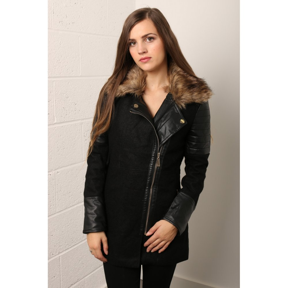 Wool Coat with Faux Leather Sleeves